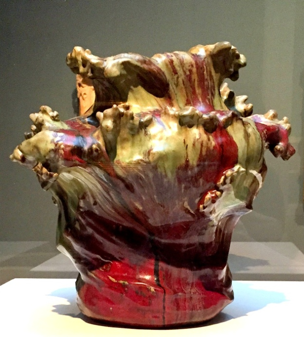 Red and gold vessel