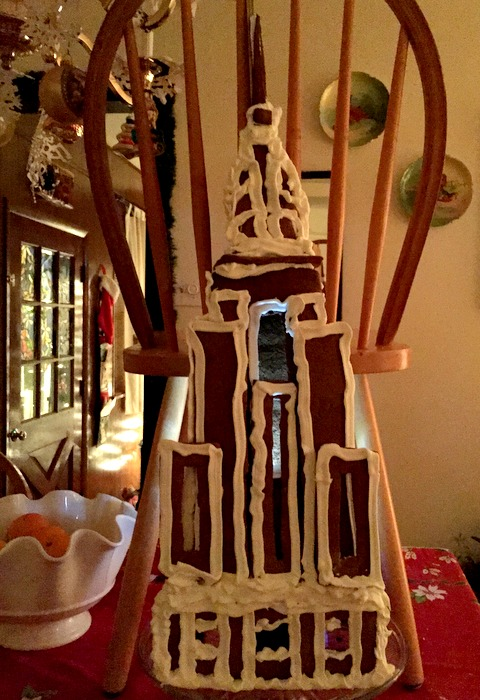 Here it is drying (hence the chair holding it up). It is hollow and has spots to put in little battery operated lights