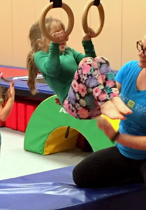 "Here's Baby at her first gymnastics class! (free at our fitness club! And no commitment, just show up the days/times it is offered: that is my kind of ""organized"" sport for a 4 year old!!"