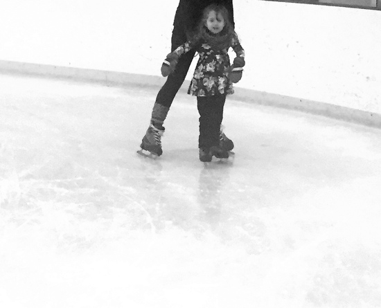 Baby's first time ice skating