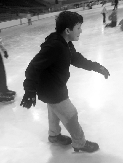 Second time ice skating (his first time was about 5 years ago!)
