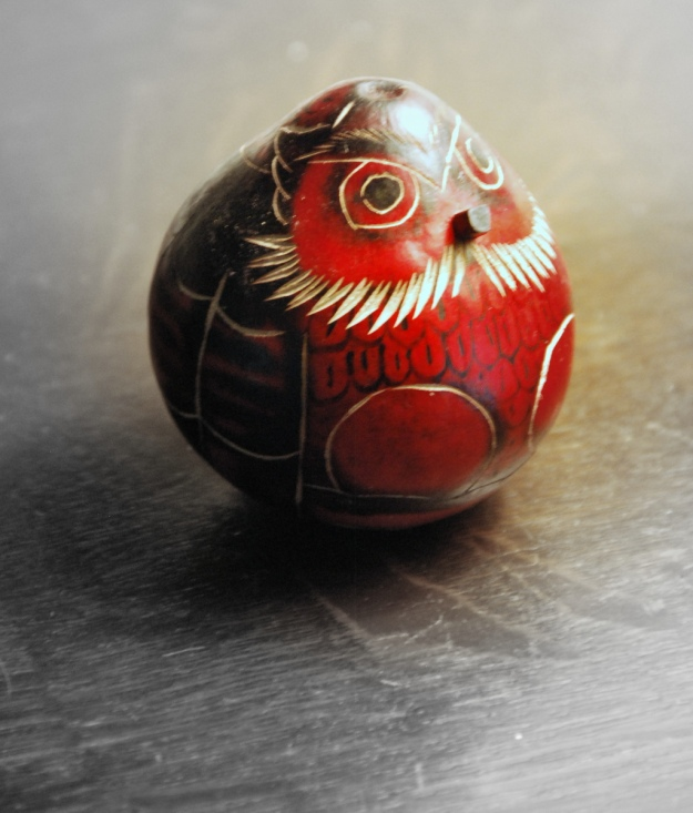 A little painted gourd owl decoration (we got this at Cahokia Mounds gift shop)