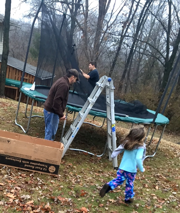 Setting up the trampoline