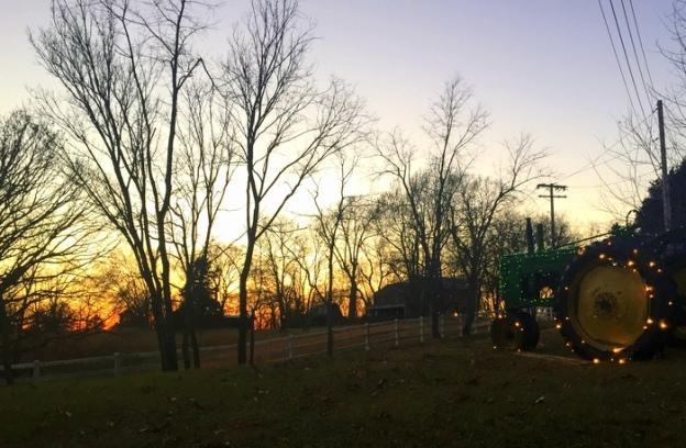 Lighted Tractor at Sunset